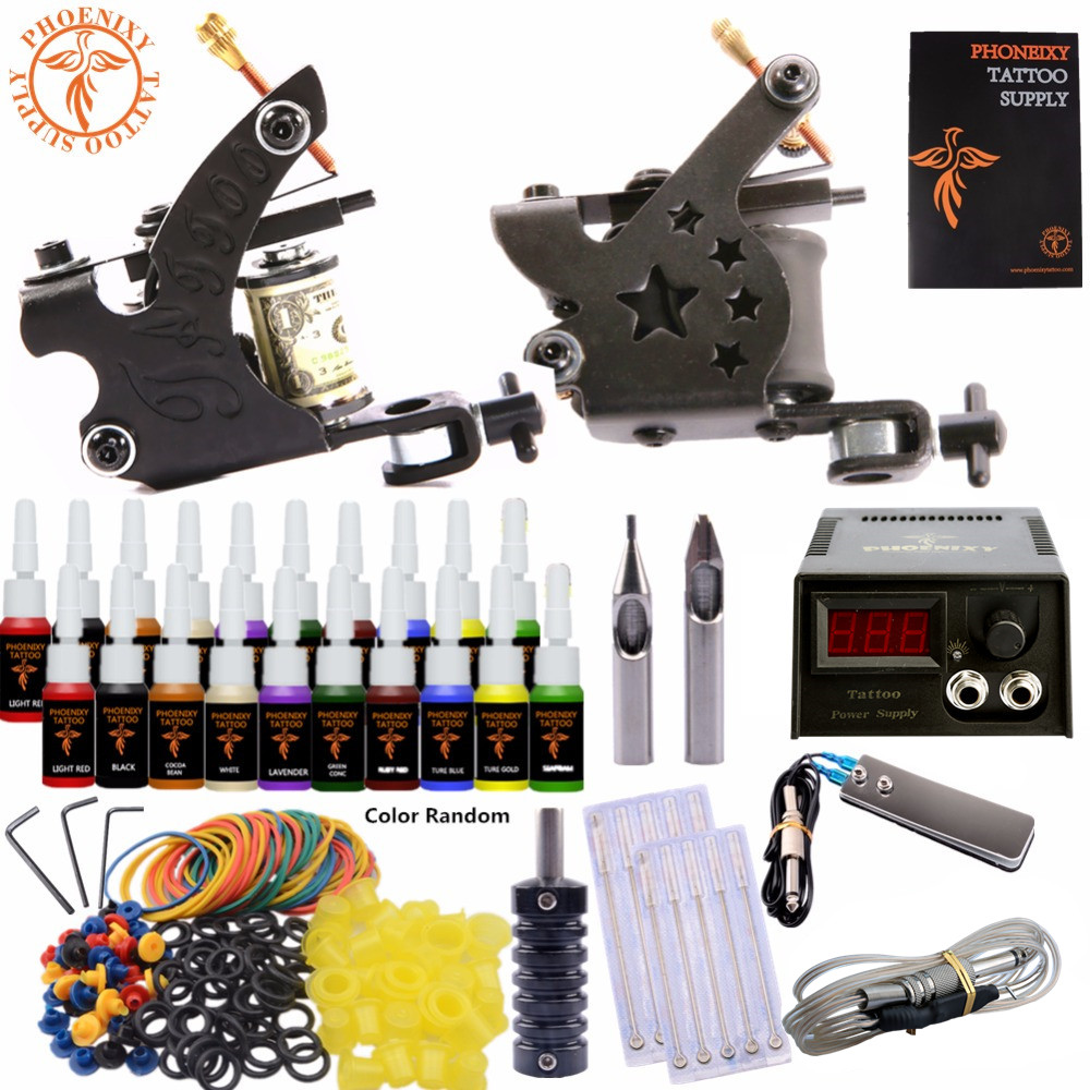 Completed Tattoo Kit Equipment Tattoo Machine Gun 20 color Power Supply Gun Color Ink Set DIY Tattoo Beginners Body Art Tools 12mm extra long head micro usb cable extended connector 1m cabel for homtom zoji z8 z7 nomu s10 pro s20 s30 mini guophone v19