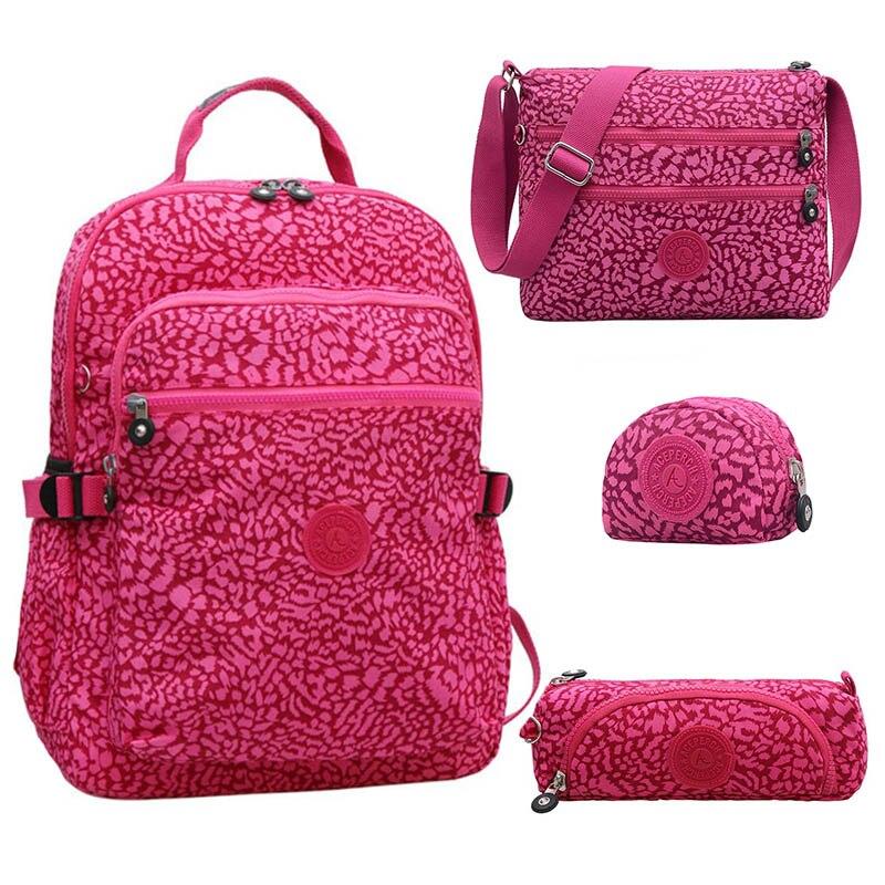 (Acheter un obtenir quatre) mode retour à l'école sacs à dos adolescente pour fille en Nylon sac à dos femmes sac à dos pour ordinateur portable cartable