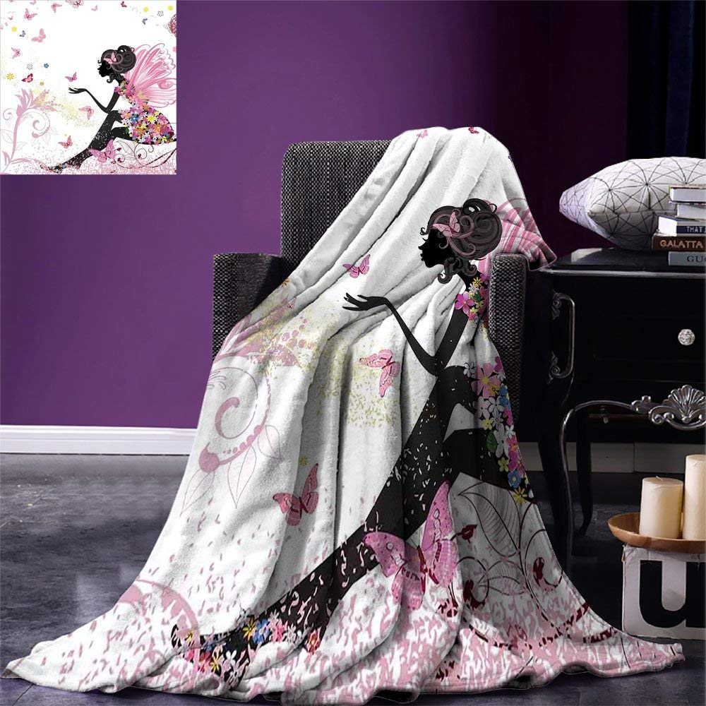 Girls Throw Blanket Fairy Girl with Wings in a Floral Dress Magical Fantasy Garden Flying Butterflies Warm Microfiber