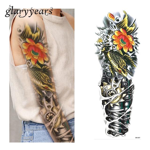 1 Folha de Máquina de Tatuagem Temporária À Prova D  Água Peixe Lotus  Design Big bdf692e6c7