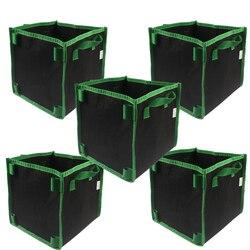 5-Gallon Square Aeration Fabric Pot Planting Grow Bag w/Green Handles