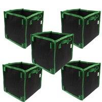 5-Gallon Vierkante Beluchting Stof Pot Planten Groeien Zak w/Groen Handgrepen