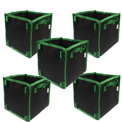 Square Aeration Fabric Pot Planting Grow Bag w/Green Handles