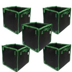 Square Aeration Fabric Pot Planting Grow Bag w/Green Handles