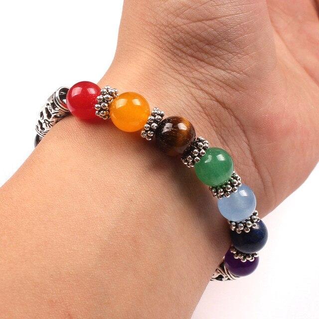 7 Chakra Bracelets Bangle Healing Stone Pray Mala2