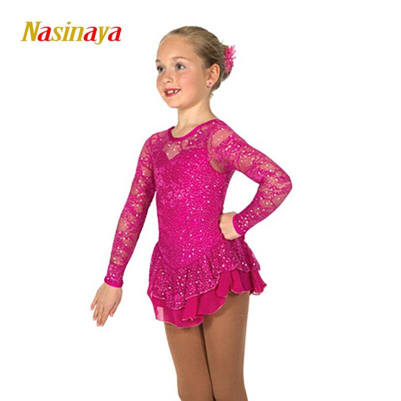 Nasinaya sukienka dostosowane konkurs łyżwiarstwo figurowe do jazdy na łyżwach spódnica dla dziewczyn kobiet dzieci gimnastyka Patinaje wydajność 286 w Gimnastyka od Sport i rozrywka na Nasinaya Official Store