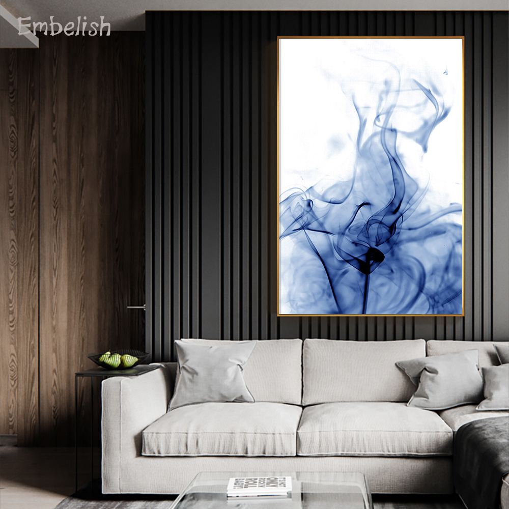 Embelish 1 Pieces Nordic Style Watercolor Blue Smoke HD Print On Canvas Paintings For Living Room Modern Wall Pictures Artworks(China)