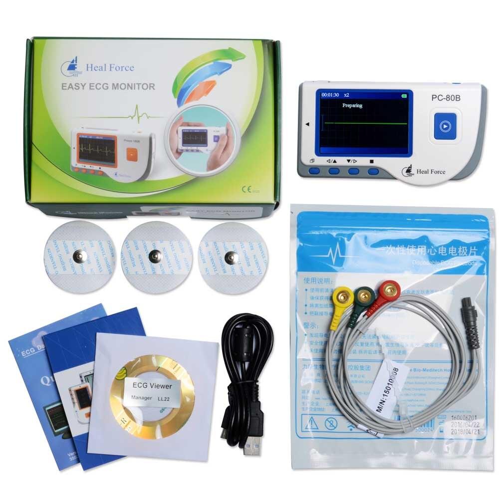 Pantalla de Color CE y FDA aprobado para Monitor Ecg de corazón portátil Heal Force PC-80B