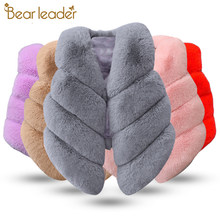 Bear Leader Girls Fur Outerwear 2018 New Autumn&Winter Fashion Thick Warm Faux Fur Environmentally Friendly ur Colorful Vest(China)