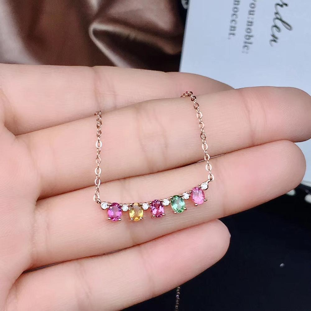 Simple fashion  Beautiful multi-color natural tourmaline, each color is candy color, 925 silver necklace