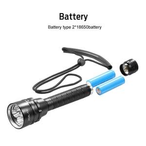 Image 3 - الغوص Scub مضيا XML T6 L2 الغوص LED الشعلة مصباح 200 متر تحت الماء مقاوم للماء المهنية الغوص بواسطة بطارية 2*18650