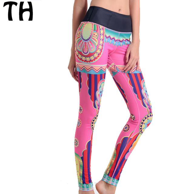 2016 Colorful Stripped Patterned Stretch Leggings Women Sportswear Workout Pants #160679