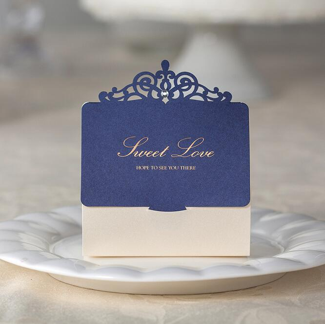 Royal Blue Laser Cut Candy Bo With Rhinestone Fl Diy Wedding Favors Designer Sweet Box Gift For Supplies Cb502 In Party From Home