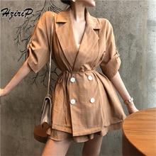 Hzirip2 piezas para las mujeres otoño Oficina Vintage Traje a cuadros pantalones  cortos Blazer doble Breasted chaqueta y pantalo. b61d80b0118