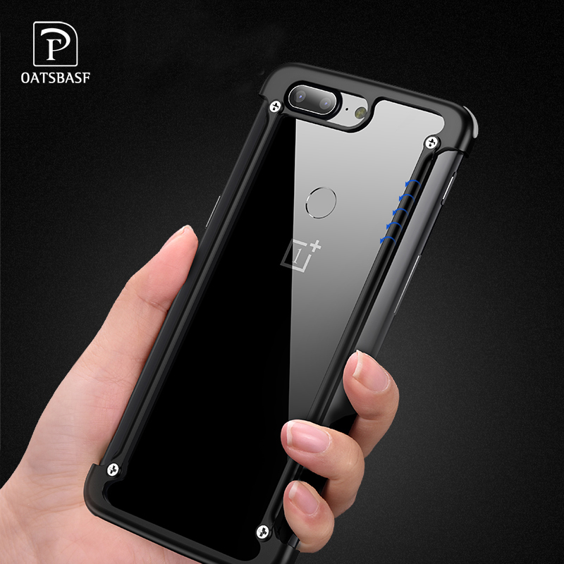 OATSBASF Original Airbag Bumper Metal Case for Oneplus 5T 6T Case Personality 5 T Airbag Shell Metal Cover for Oneplus 6 Case