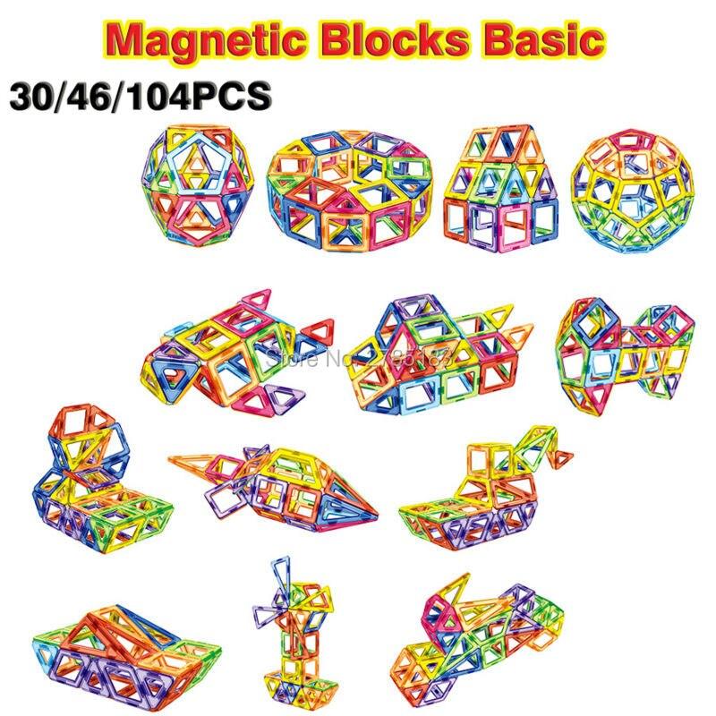 30-104PCS 3D DIY Magnetic Blocks Basic Toy Building Tiles Bricks Kit Construction Stacking Educational Toys for Children