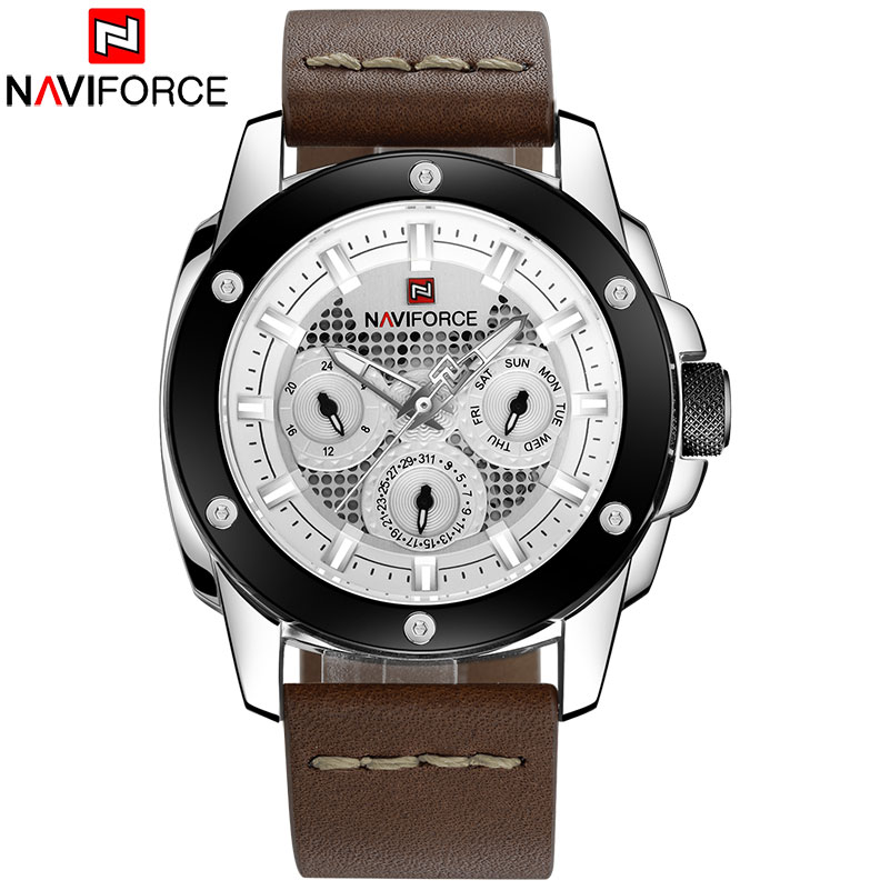 NAVIFORCE 2018 New China Brand Man Watches Luxury Sports Quartz Watch Rectangle Dials 30M Waterproof Auto Date Red Leather Band skmei 2017 new popular brand men watches fashion analog quartz watch 50m waterproof auto date black dials quality leather starp