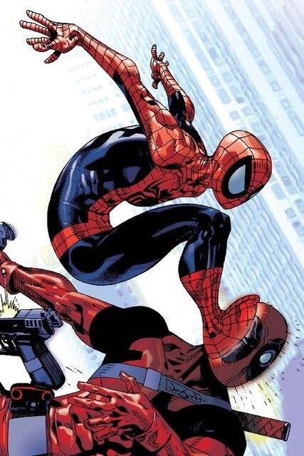 hot spider man vs deadpool comic poster art silk wall home