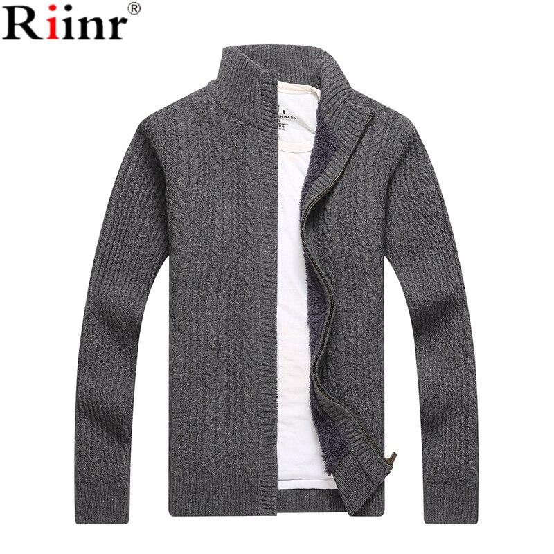9121a14f008d Riinr 2018 Neue Ankunft Pullover Männer Herbst Winter Wolle Dicken  Männlichen Strickjacke Mode Marke Kleidung Outwear