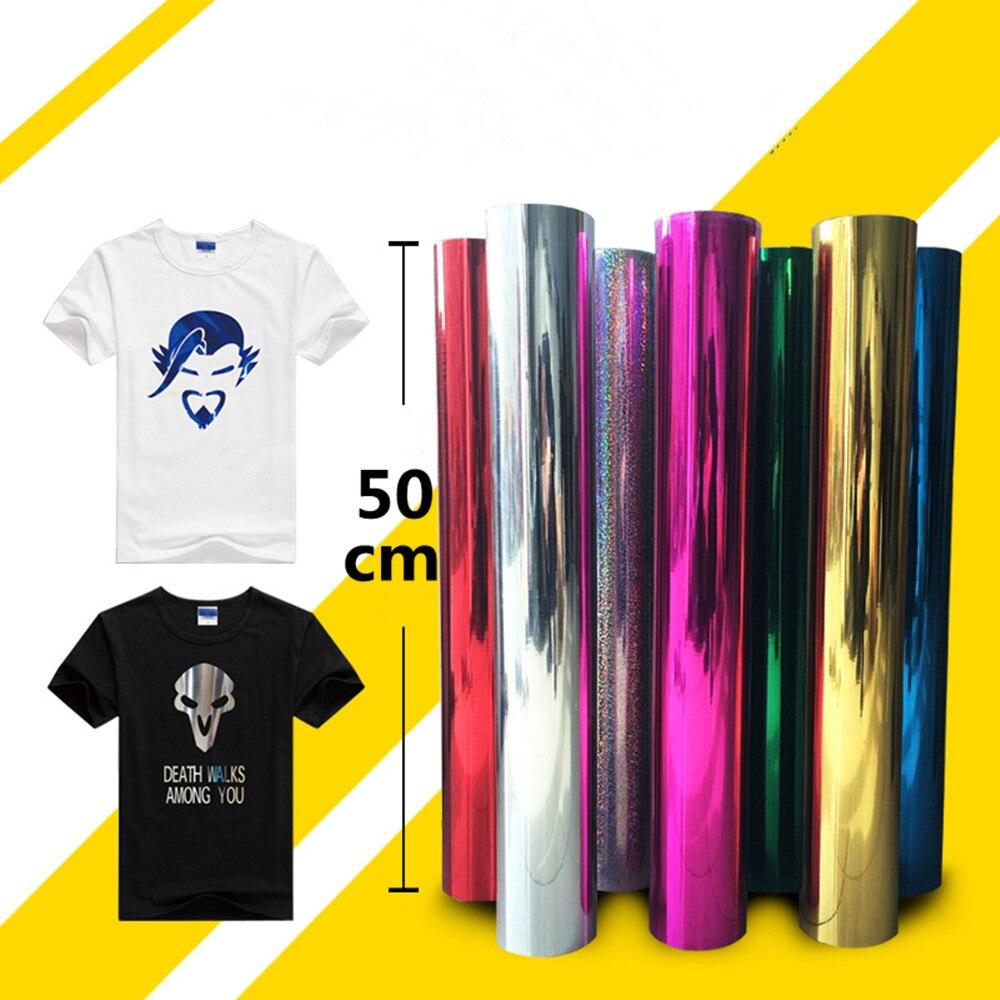 0.5 m x 15 m Métallique Transfert De Chaleur PU Vinyle Presse de La Chaleur Machine T-shirt Transfert De Fer Sur HTV Impression Miroir film