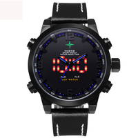 Top Luxury Brand Men Sport Watch Waterproof Genuine Leather Round Analog Male Wristwatch Led Digital Quartz Sport Watch Men