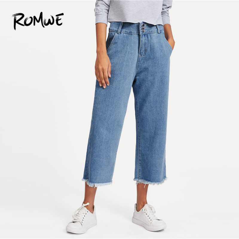 ROMWE Frayed Edge Wide Leg   Jeans   2019 New Arrival Mid Waist Straight Leg Women Trousers Spring Button Fly Plain   Jeans