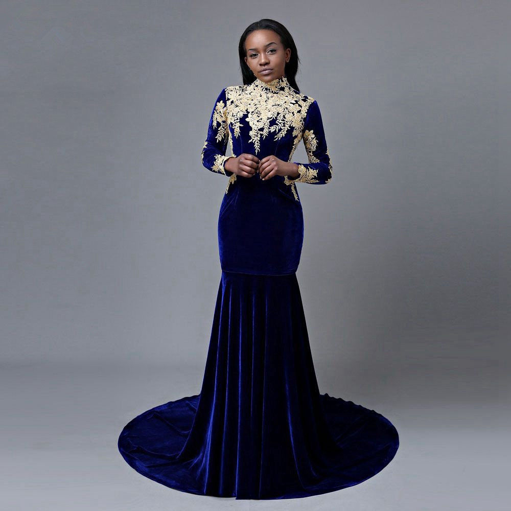 68-1     Elegant Velvet Mermaid Royal Blue Prom Dress Applique Formal Evening Party Gowns