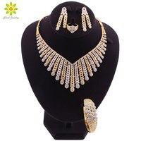 Ювелирные наборы для женщин, Африканский Свадебный золотой цвет, ожерелье, серьги, набор, Дубай, свадьба, Эфиопский модный костюм, ювелирные ...