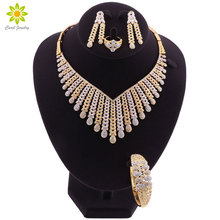 Jewelry Sets For Women African Bridal Gold Color Necklace Earrings Set  Dubai Wedding Ethiopian Fashion Costume Jewellery