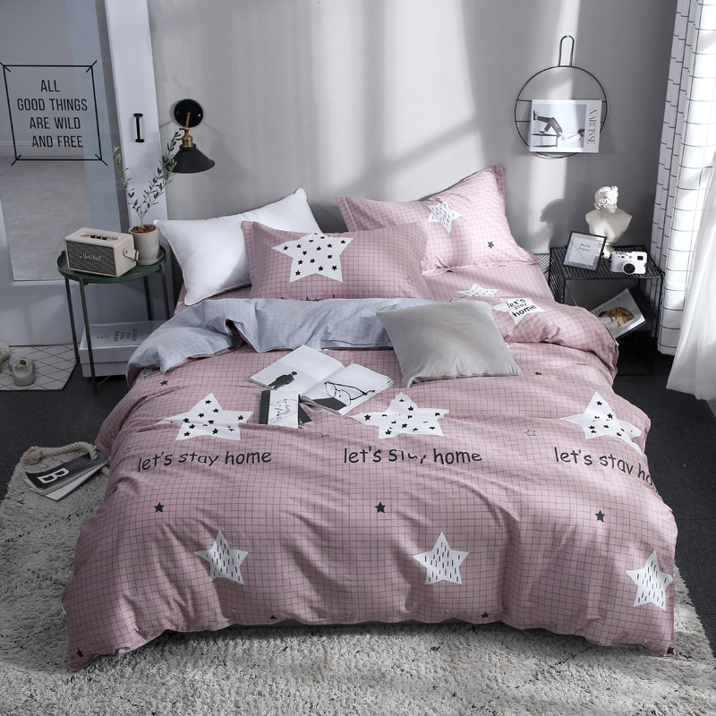 Home Textile Hot Pink Bedding Set Kid Teen Girls Linens Star Duvet Cover Pillowcase Plaid Bed Sheet King Queen Full Bedclothes