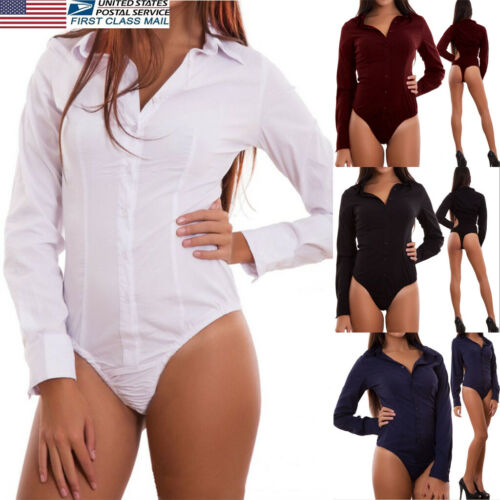 Sexy Women   Jumpsuit   Stretchy Playsuit Bodysuit 2019 New Summer Long Sleeve Shirt Slim   Jumpsuit   S-2XL