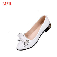 2018 casual shoes woman bow Pointed flat shoes women slip on loafers shoes woman flats ladies shoe(China)