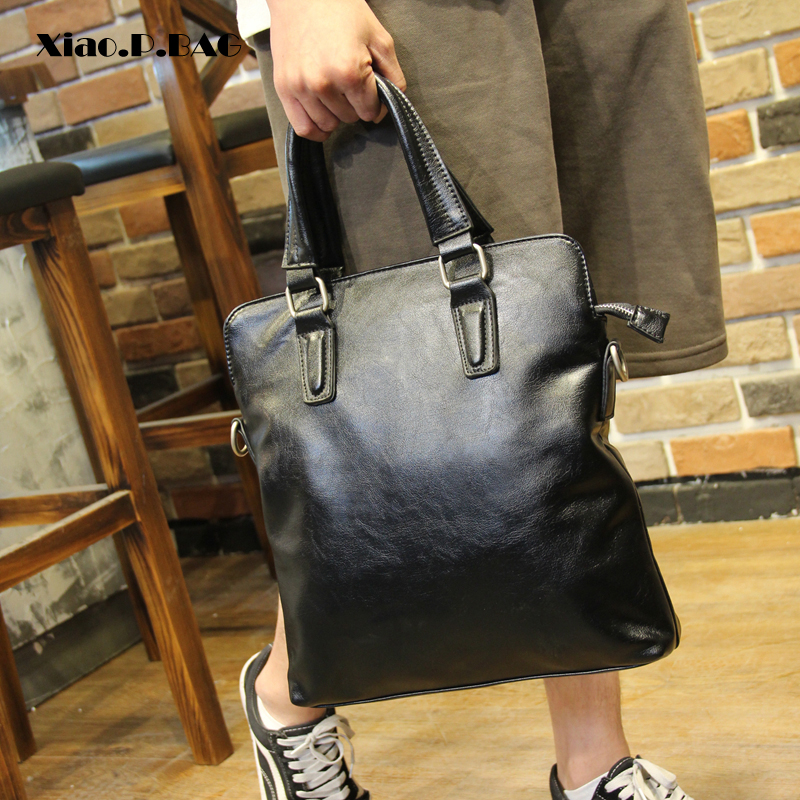 Xiao.P High quality PU Leather Handbag Men Casual Messenger Bag Business laptop Bag Briefcase Shoulder Bag Black square Bag Сумка