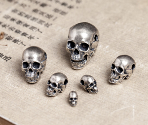 925 Sterling Silver Thai Men's SKull oxidized charm pendant DIY accessory (Without chain) A3394