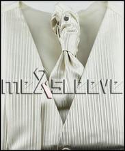 Men's  Dress ivory stripe Vest ascot tie Set for Suit or Tuxedo