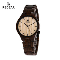 REDEAR New Watches 2019 Black Sandalwood wooden Watch Tools for Men Casual Calibration Circle Wooden Quartz Watch Design