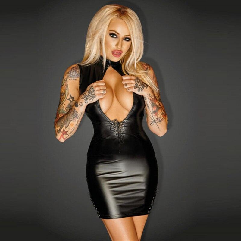 Women's Clothing Beautiful Apparel Sexy Black Faux Leather Short Skinny Dresses For Women Mini Clubwear Plus Wet Look Front Open Bodycon Dress