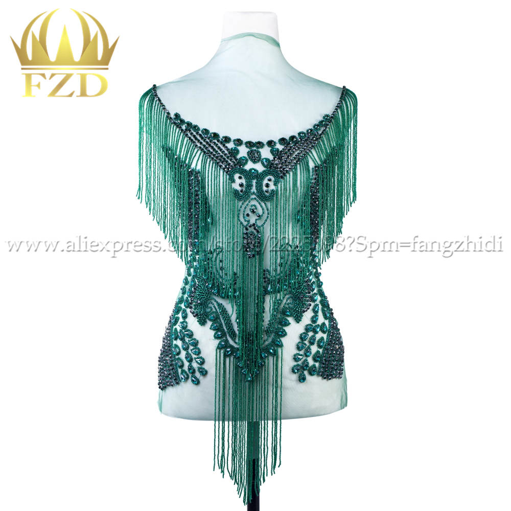 FZD Elegant Handmade Sew On Rhinestone Patch Tassels Waterfall Dangling Crystal Dress Patch Bodice Applique for