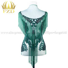 Elegant Handmade sew on Rhinestone Patch Tassels Waterfall dangling bodice applique bodices patches