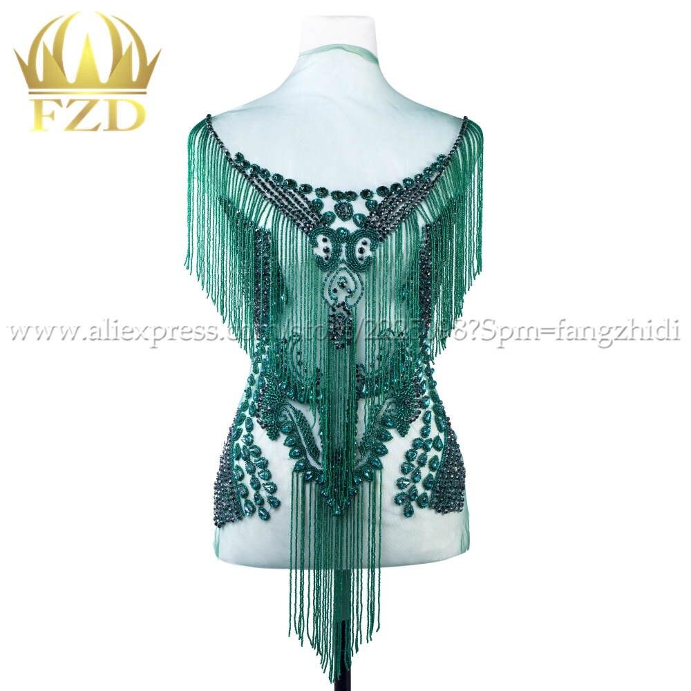 FZD elegancka, ręcznie robiona naszywka ze strasami frędzle wodospad zwisająca kryształowa sukienka naszywka stanik aplikacja na pokaz
