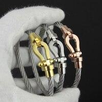Inoxidable de tyme marca de lujo masculino H pulseras y brazaletes imán hebilla cable mujeres pulsera de plata en forma de U del Pun ¢ o del encanto del amor pulsera