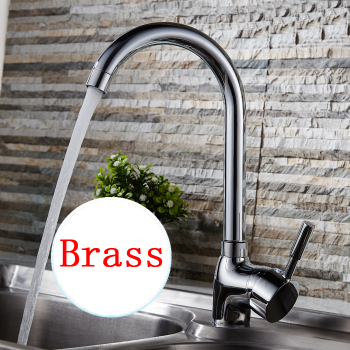 Rotated single hole water basin faucet mixer Copper kitchen sink dish basin faucet chrome Bathroom basin