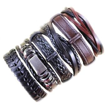 6pcs Leather Bracelets For Men Wrap Bangle Party Gifts 2
