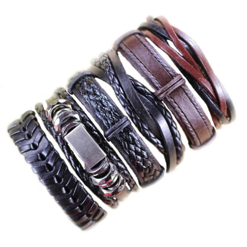 Venta al por mayor, 10 uds/lote (10 Uds al azar), pulseras trenzadas de mezcla de estilos o 6 uds, pulseras de cuero para hombres, brazalete envolvente, regalos de fiesta MX5