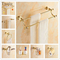 Free shipping all copper bath towel rack, bathroom pendant set, bathroom rack, bathroom hardware, jade gold suit