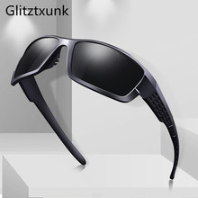Glitztxunk Polarized Sunglasses Men Women Square Brand Design Classic Male Black Sports Sun Glasses For Drive Goggle gafas