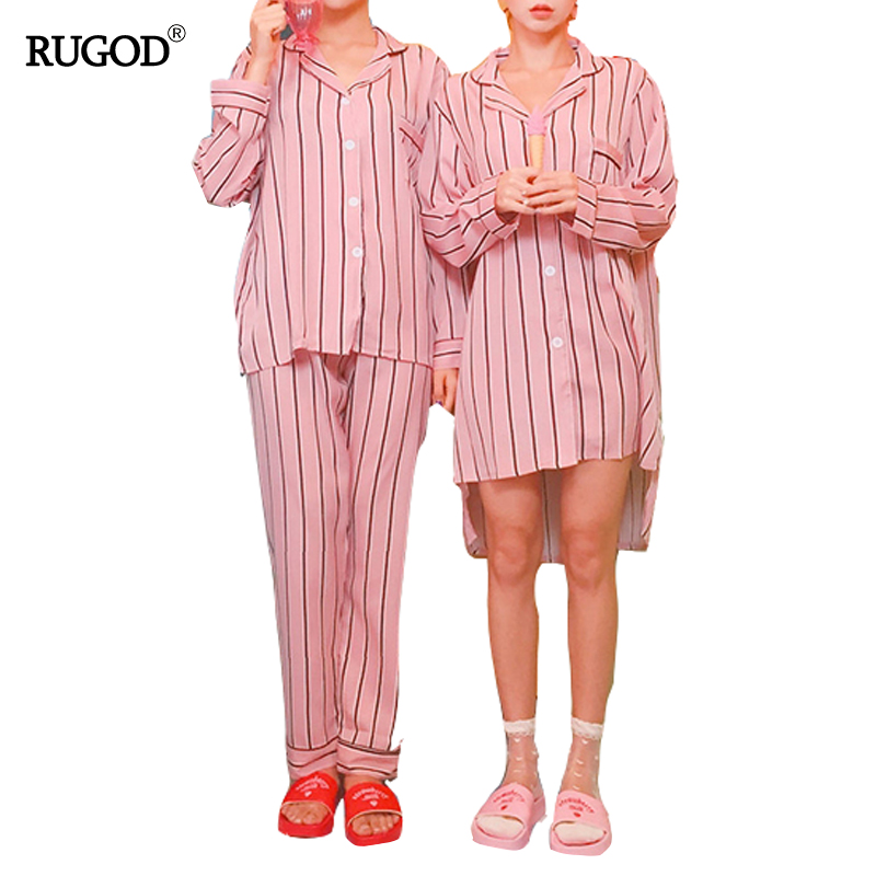RUGOD Women Pink Striped Sleepwear Pajamas Long Sleeve shirts+ Long Pants Two Pieces Turn-down Collar Casual Loose Pajama Set
