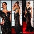 Свадебные платья феста сексуальный черный вечерние платья длинная рукава знаменитости платья длинная пром вечерние платья g53