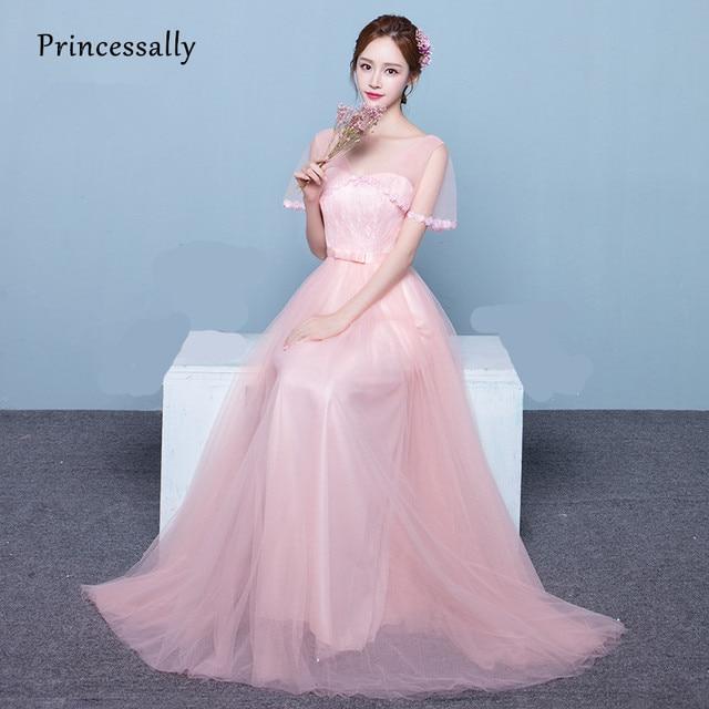 Blush Pink Elegant Bridesmaid Dresses Lace V neck Short Sleeve Tulle ...