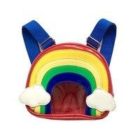 PU leather rainbow prints children school bags kids travel backpacks mochilas infantis escolars feminina for kindergarten girls